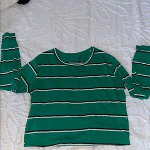 Green Striped Crop Top
